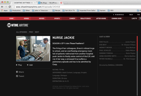 screenshot of Showtime Anytime page for Nurse Jackie episode 409.  Edie Falco and Bobby Cannavale are talking while standing over a patient bed in a picture on the left side.