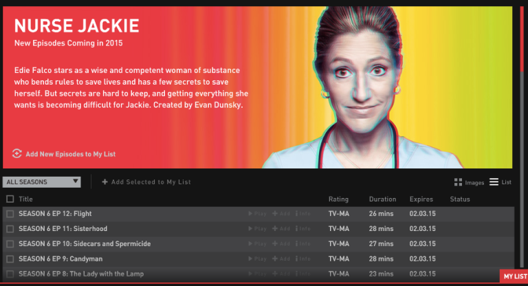 Screenshot of Nurse Jackie on showtime anytime service with banner of red fading to yellow and picturing Edie Falco, along with a list of season 6 episodes from last to first (only showing 5)